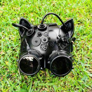 Black Steampunk Goggles Gatto CAT Mask